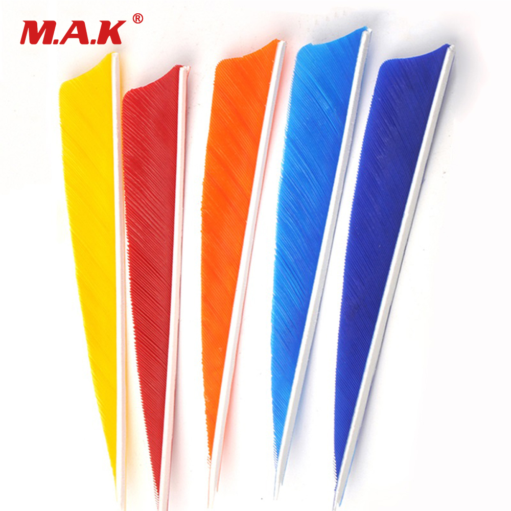 5 Colors 4 Inch Turkey Feather Shield Cut Shape Real Arrow Feather Vans For DIY Archery Arrows Packed In 12pcs/bag