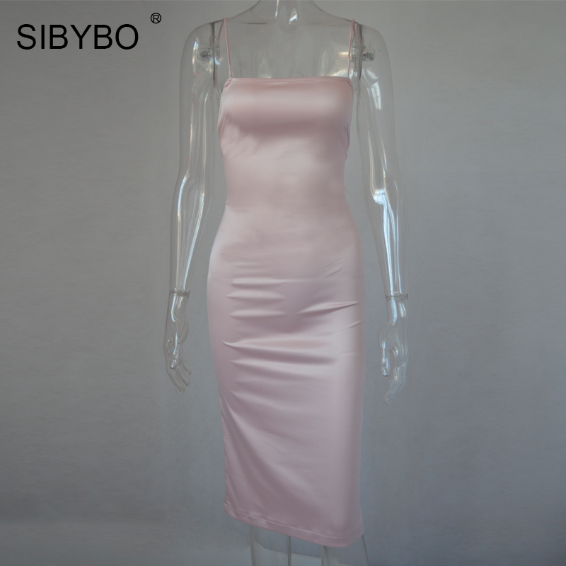 Aliexpress.com : Buy SIBYBO Autumn Satin Sexy Backless Lace Up Bodycon Dress  Women Elegant Pink Side Split Winter Bandage Club Party Dresses Vestidos  from ...