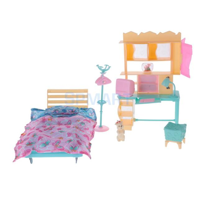 Luxury Plastic Furniture Play Set for   Dolls House Bedroom