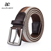 Фотография Unisex woven leather buckle elastic waist belt men and woman belt new leisure 6 colour 3.5 wide for gift for men fashion belts