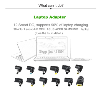LCD Third Generation Smart Multifunctional Universal Power Supply Home or Car Charger Laptop Adapter 90W with USB2.4A for Phone