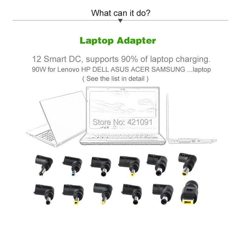 LCD troisième génération intelligente multifonctionnelle universelle alimentation maison ou chargeur de voiture adaptateur pour ordinateur portable 90W avec USB2.4A pour téléphone - 2