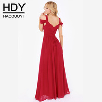 HDY Women Maxi Dress Ruffle Sexy Chiffon Long Dress Split Deep V Neck Cold Shoulder Summer
