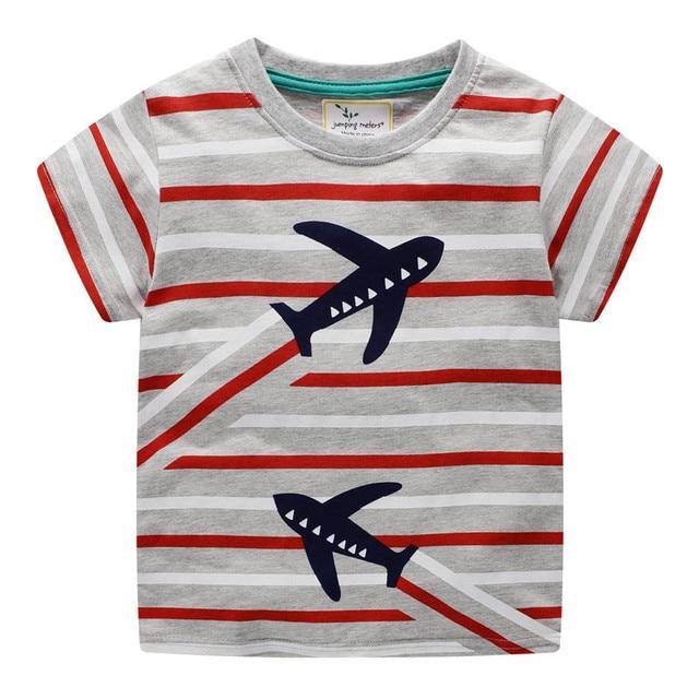 Camisetas y Tops para niños de algodón de dibujos animados ropa de niño rayas de punto camisetas de Venta caliente bebé niños camiseta de verano ropa de los niños