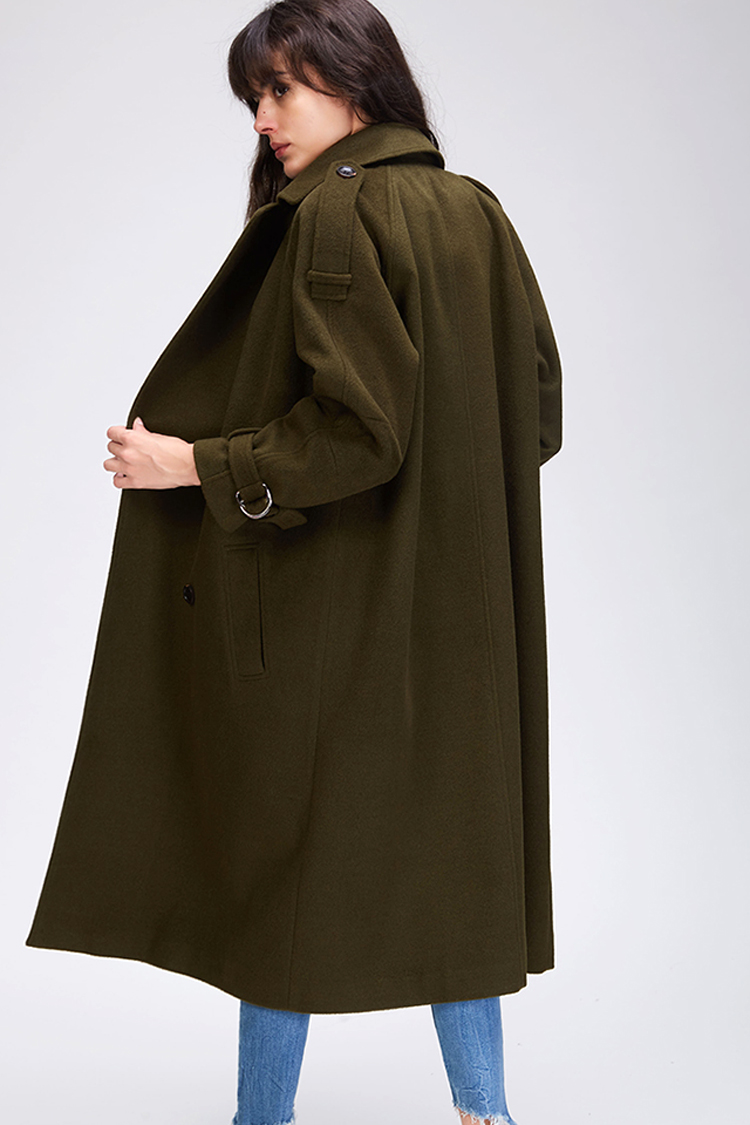 JAZZEVAR 19 Autumn winter New Women's Casual wool blend trench coat oversize Double Breasted X-Long coat with belt 860504 19
