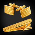 Top Quality Tie Clip Set For Mens With Gift Box Wedding Shirt Groom Square Classic Gold Plated Cuff links Necktie Clip TC1939Y