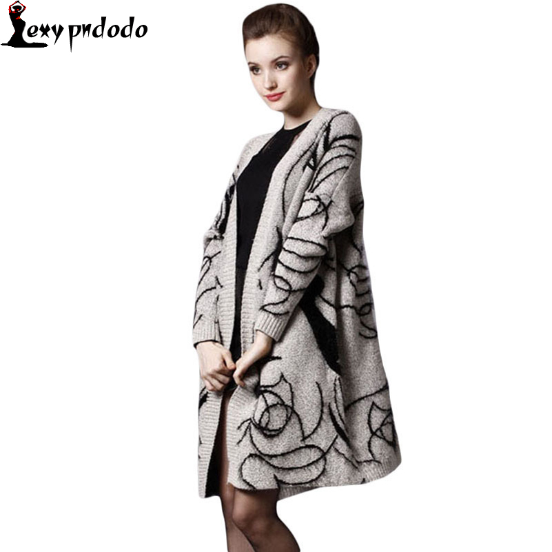 Autumn/Winter Elegant Character Jumper Sweater Thicken Long Knitwear Coat Womens Mohair Cardigan with Jacquard Patterns LC27581