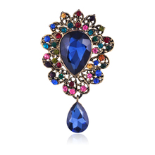 Cheap-Costume-Jewelry Large Rhinestone Vintage Antique Gold Brooches For Women Wedding Elegant Prom Party Accessories  Brooches