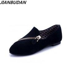 Jianbudan/обувь на плоской подошве женская 2017 Новая весенняя обувь Повседневные Удобные туфли на плоской подошве размер 35-40 черный/коричневый молния отдыха обувь