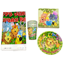 61PCS For 20 People Birthday Party Jungle Animal Tableware Set Decorate Cups Napkins Baby Shower Kids Favors tablecloth Plates