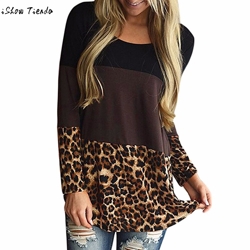 Fashion Womens Back Lace Blouse Tunic Tops Leopard Casual Long Sleeve Shirts Patchwork Blouses Блузка