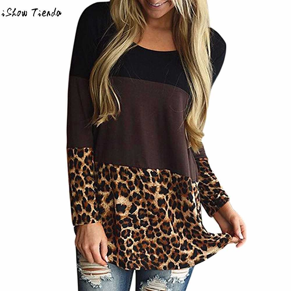 2e6161a384 Fashion Womens Back Lace Blouse Tunic Tops Leopard Casual Long Sleeve  Shirts Patchwork Blouses