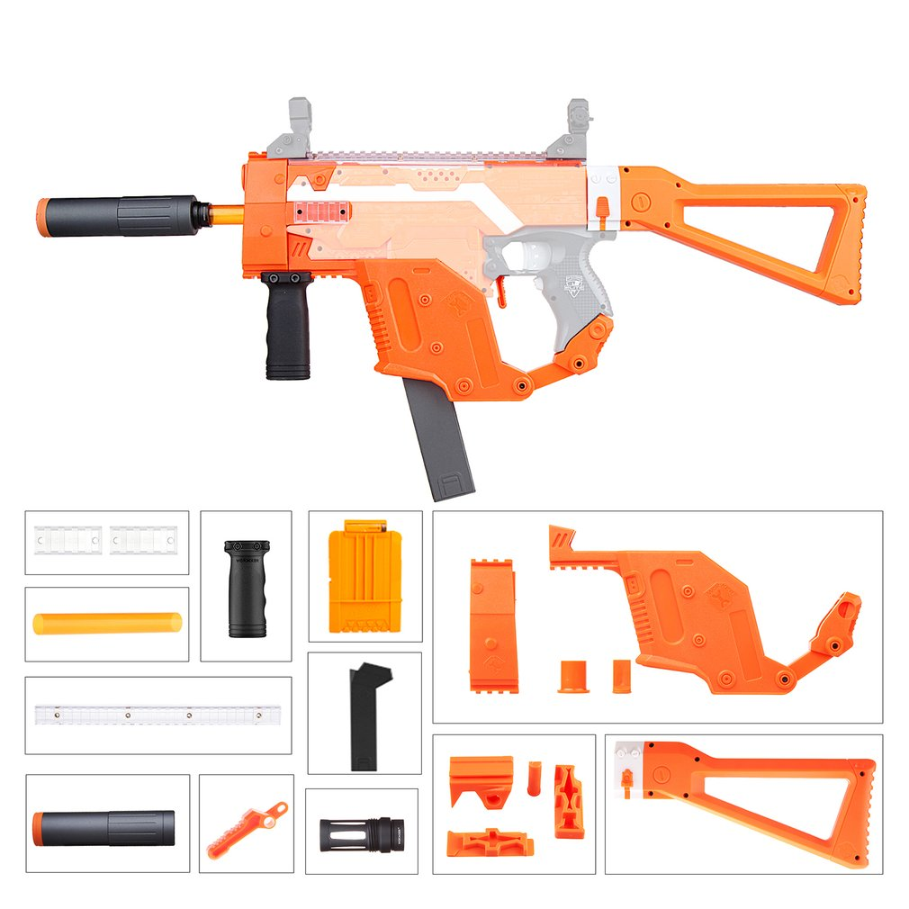 где купить WORKER Easy Installation MOD Orange Kriss Vector Imitation Kit 12 Items for Nerf STRYFE Modify Toys Gift for Toys Game Players дешево