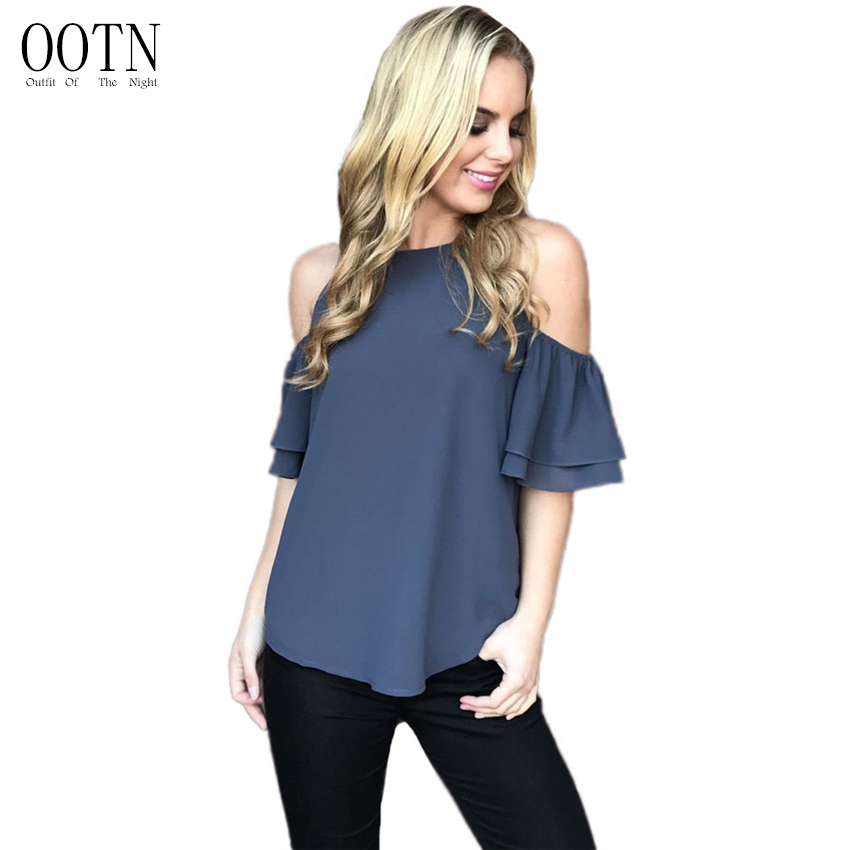OOTN Off Shoulder T Shirts Blue Women Tops Cold Open Shoulder Casual T-shirt Casual Summer Button Shirt Cotton Tiered Tshirt