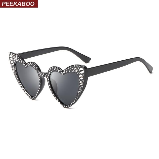 f78935cfaf Peekaboo heart shaped frame sunglasses with rhinestones beach accessories  for women 2018 pink red heart sun glasses cat eye