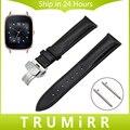 Faixa de relógio 18mm quick release para asus zenwatch 2 wi502q cinta butterfly fivela primeira camada de couro genuíno das mulheres pulseira de pulso