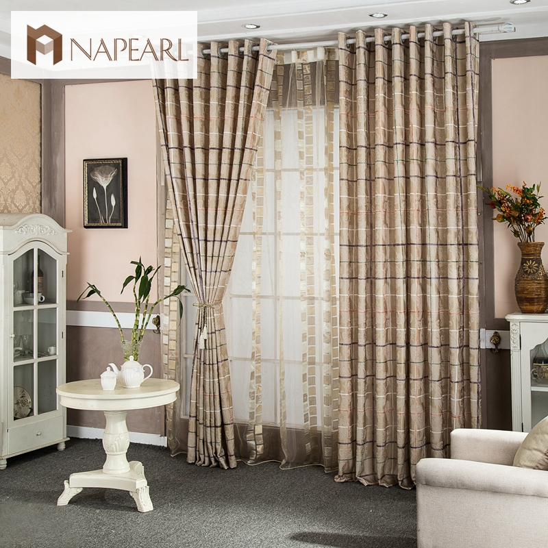 Free Shipping Plaid Printed Design Rustic Window Treatments Home Textile Kitchen Curtains Window Curtain For Bedroom