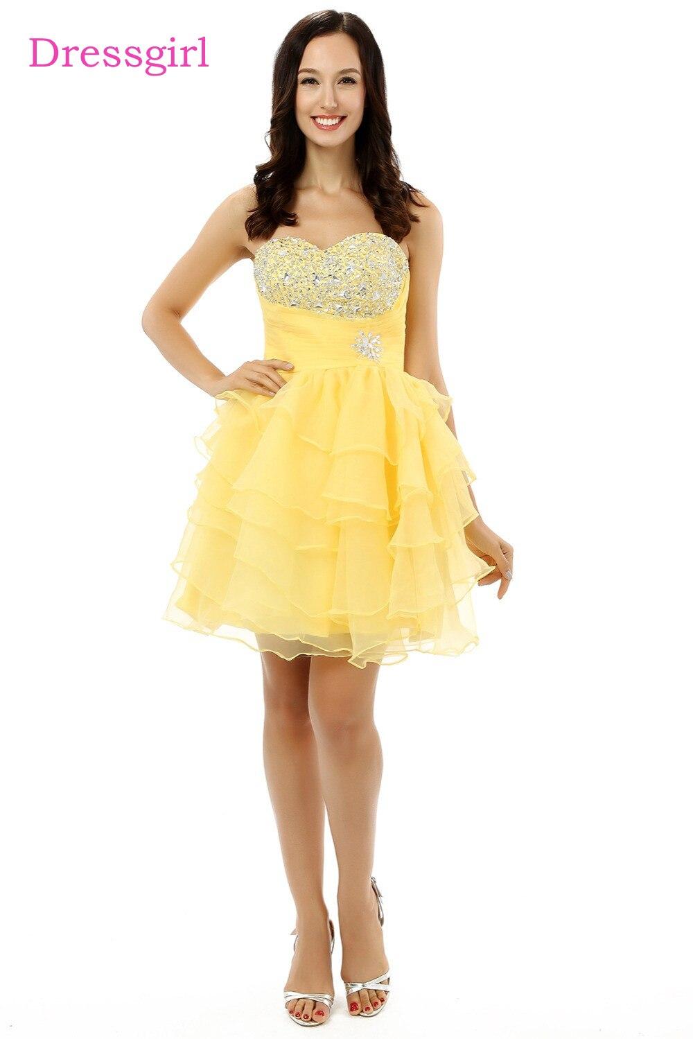 Best желтый 2018 Бальные платья A-Line Милая Короткие мини органзы бисером кристаллы Многоуровневое Коктейльные платья
