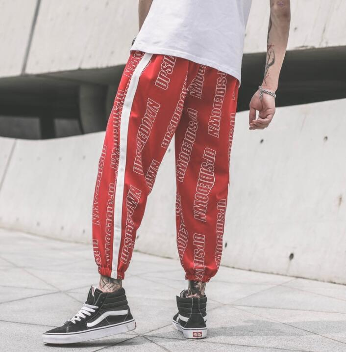 Loose wild personality fashion harem pants mens casual trousers pantalones hombre cargo feet pants for men pantalon homme red