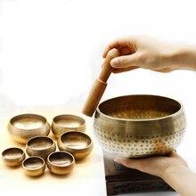 Тибетская медитация ручной работы Поющая чаша Тибетский буддизм, латунь Поющая чаша звуковой колокол для Исцеление йогой духовные подарки GU26