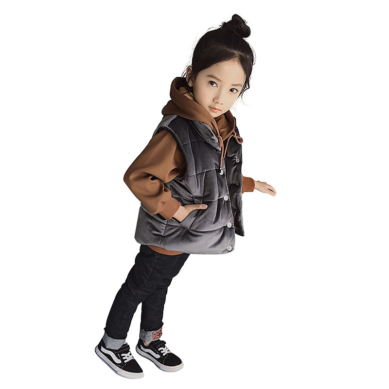 Girl autumn and winter set 2018 new hooded long-sleeved sweater + vest two-piece suit 3 6 8 10 12 years old baby girl clothes