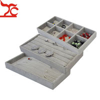 Popular Grey Velvet 11 22cm Jewelry Display Tray Kit 3Pcs Bead Ring Earring Necklace Storage Organizer