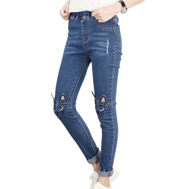 df477cfa7a7d Cat Cartoon Skinny Jeans Women Spring Summer Stretch Jean Femme Straight  Pants Loose Trousers Ripped Jeans Plus Size 5XL C3415