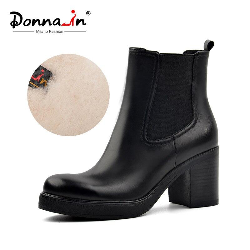 Donna-dans femmes véritable bottes de neige en cuir naturel laine fourrure semelle chaussons d'hiver plate-forme chaussures talons hauts Chelsea cheville bottes