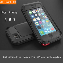 Metal Extreme Shockproof Military Heavy Duty Tempered Glass Cover Case Skin for iPhone 8 7 6 5 /Plus 5.5″ Full-Body Waterproof