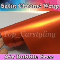 Ice Orange Metallic Matte Chrome Vinyl Wrap Car Wrapping Film For Car Vehicle Styling With Air