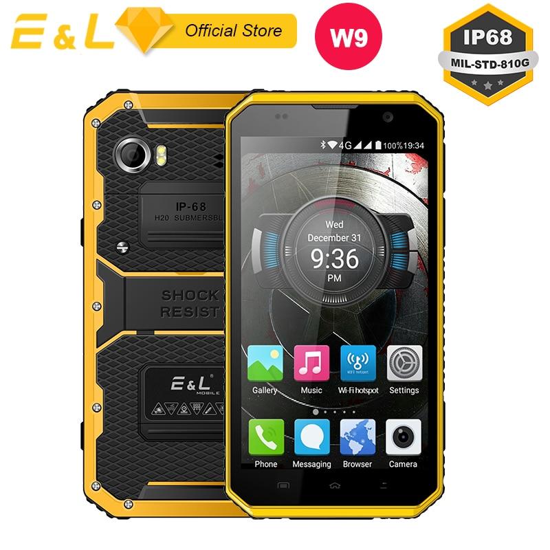E & L W9 Étanche Smartphone Pouces 4g IPS Full HD Mobile Téléphone Octa Core 4000 mah IP68 Robuste antichoc Tactile Android 6.0 Téléphone