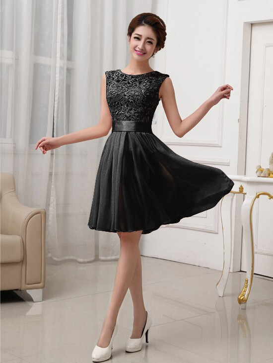 07846b3a9d Sexy Women Lace Sleeveless Elegant Dress Cocktail Party Chiffon Pleated  Solid Short Mini Dress
