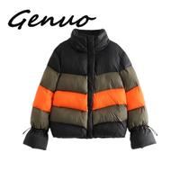 Fashion Multi block Patchwork Anorak Jacket Women Cotton Padded Warm Coat Lace Up Sleeve Stand Casual Outerwear Veste Femme
