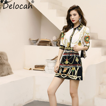 Delocah Women Summer Vintage Suits Runway Fashion Half Sleeve Printed Tops Shirt And Crystal Beading Short Skirt Two Pieces Set