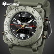 INFANTRY Men Dual Display Watches 30M Water Resistant Stop Watches Alarm Clock Wristwatches Relogio Masculino WORLD PEACE KEEPER