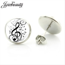JOINBEAUTY New Arrival Music Notes Stud Earrings Handmade Glass Dome Round Jewelry Treble clef and Notes Earring Jewelry MT03(China)