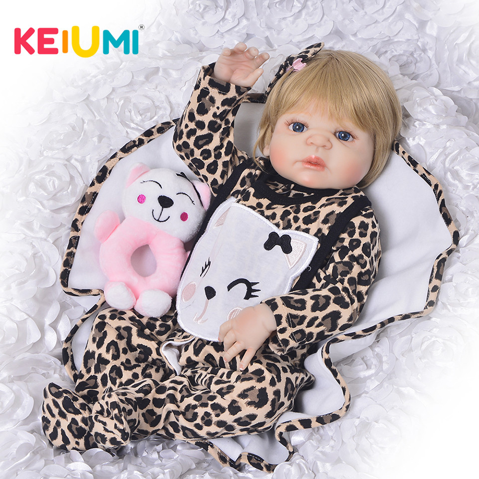 KEIUMI 23'' Reborn Baby Doll Princess Babies Girl Full Body Silicone Vinyl Realistic 57 cm New Born Boneca Reborn bebe Gifts real like 57 cm sleeping boneca reborn lifelike full body silicone vinyl reborn dolls babies princess baby doll toy for gifts