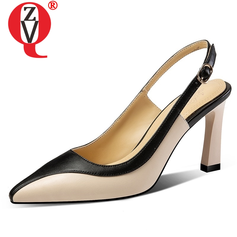 ZVQ shoes woman 2019 spring new fashion sexy mixed colors genuine leather woman pumps outside super high thin heels ladies shoesZVQ shoes woman 2019 spring new fashion sexy mixed colors genuine leather woman pumps outside super high thin heels ladies shoes