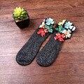 Mujeres de La Manera europea del Diamante Calcetines de Calcetines Cortos de Otoño/Invierno Joya Informal Bordados hechos A Mano Calcetines de Algodón