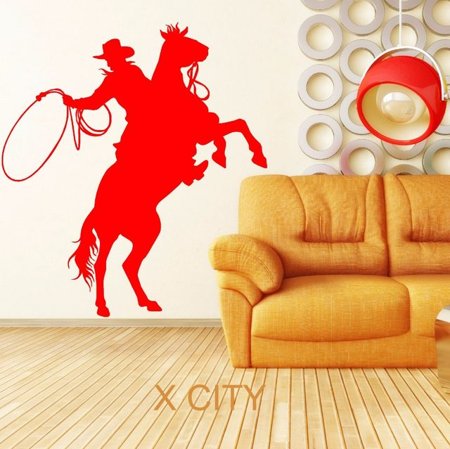 Online Shop COWBOY LASSOING LASSO ROPE RODEO RANGER HORSE RIDER WALL ...