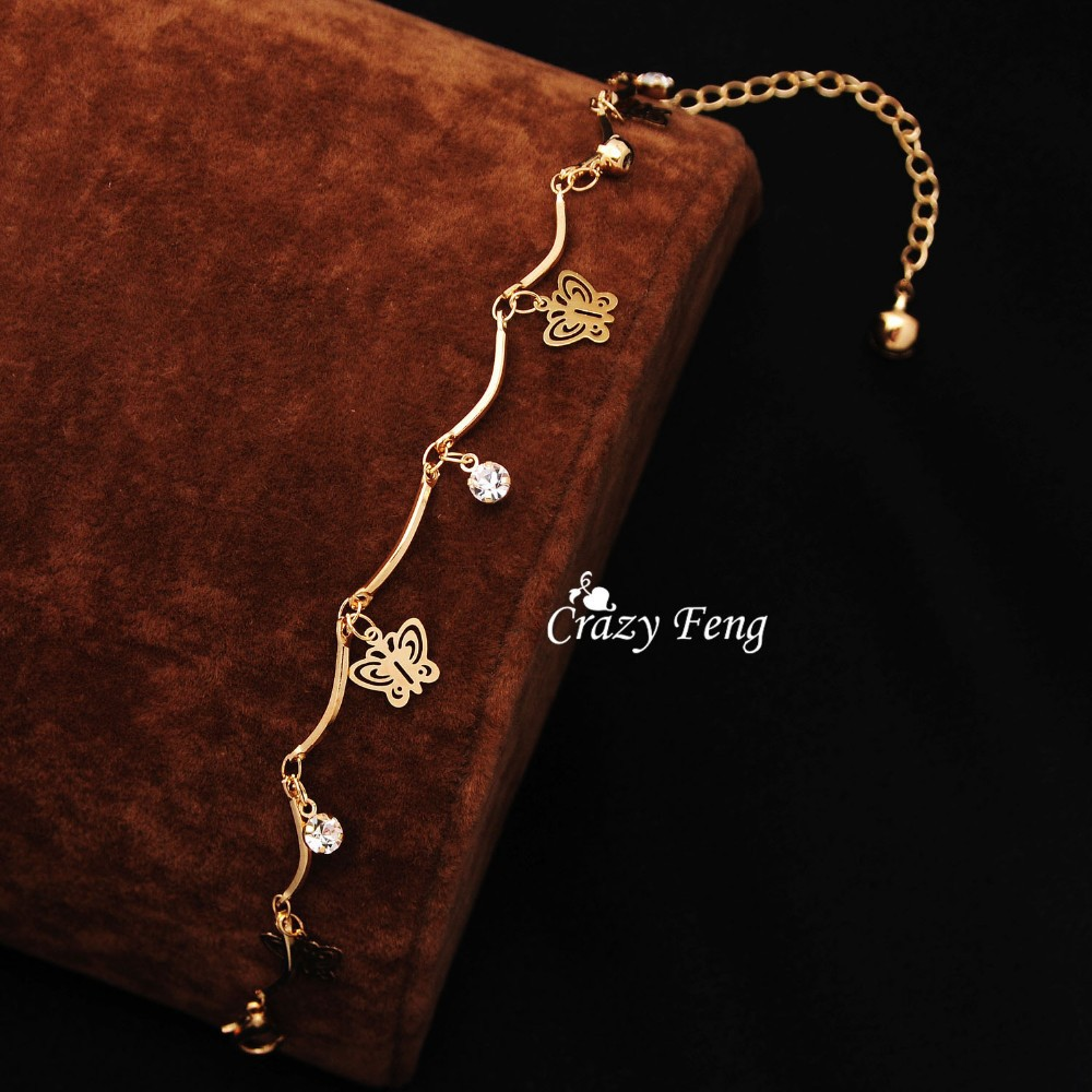 Free shipping top quality trendy summer style Brand New fashion hot butterfly crystal jewelry charm bracelet & anklet for women 6