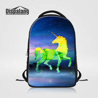 Dispalang Women Men Large Laptop Backpack Diamond Unicorn Pattern School Bags For Teenagers Galaxy Stars Print