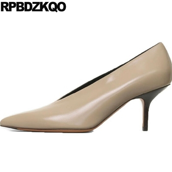 Thin Pumps High Quality Designer Shoes Size 4 34 Heels Genuine Leather Ladies 3 Inch Winkle Picker Beige Suede Brand Pointed Toe