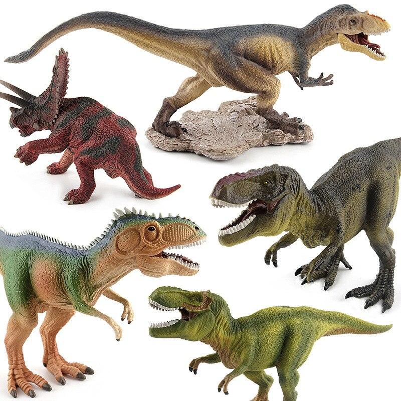 New 5pcs Jurassic Tyrannosaurus Rex Yutyrannus pentaceratops giganotosaurus Dinosaur Plastic Toy Model Kids Gifts 37 cm tyrannosaurus rex with platform dinosaur mouth can open and close classic toys for boys animal model without retail box