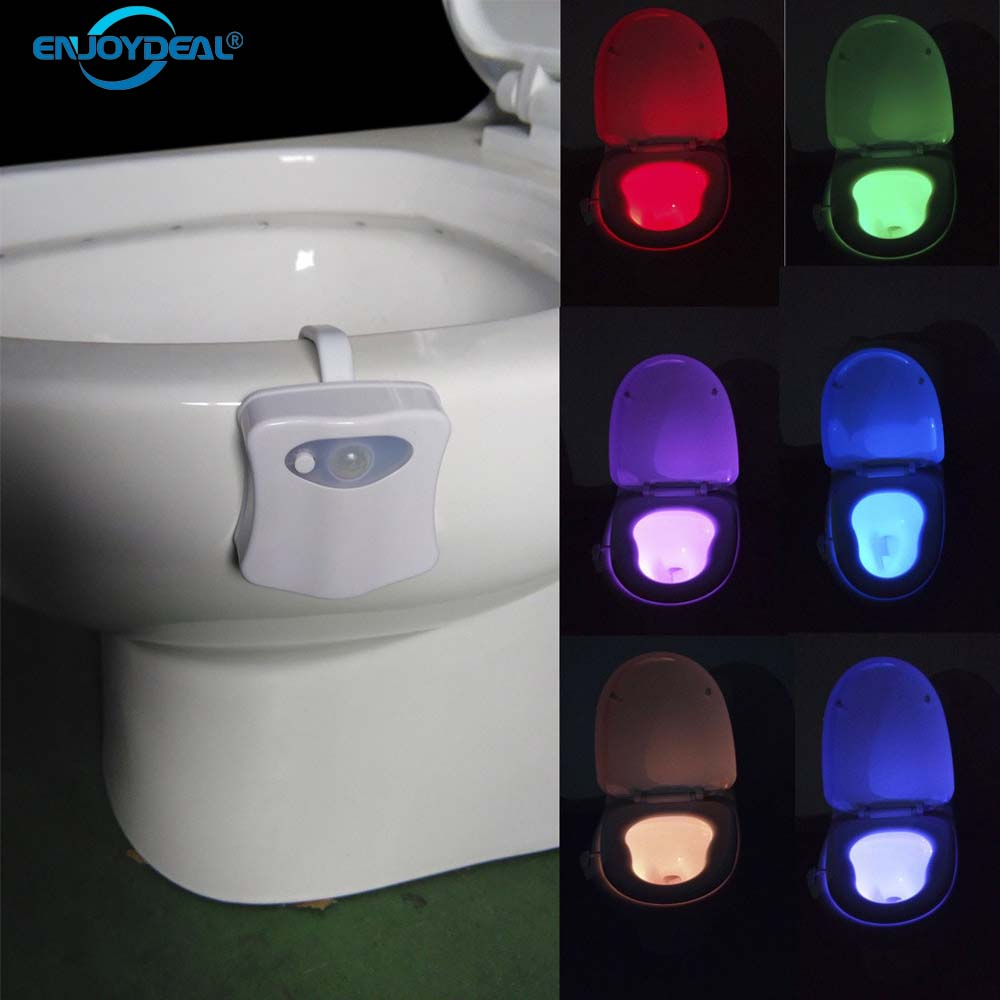 Motion Sensor Toilet Light 8 Colors LED Battery-operated Lamp Human Motion Activated PIR Automatic RGB LED Toilet Nightlight
