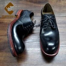 Sipriks импорт из Франции из телячьей кожи швейная обшитая обувь мужские Повседневное кожаная обувь большой круглый носок элегантный ковбойские ботинки