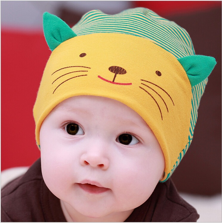 d545d1d59 US $1.77 16% OFF|Fashion New Lovely Cute Baby Boy girl beanie Striped  Cotton Cap Cat Baby hat newborn Accessories for 1 3year old children-in  Men's ...