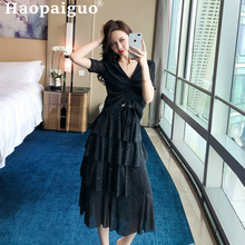 Plus Size 2019 Summer Korean Style Casual Two Pieces Set Black Blouse and Cupcake Midi Dress Women 2 Elegant Suit