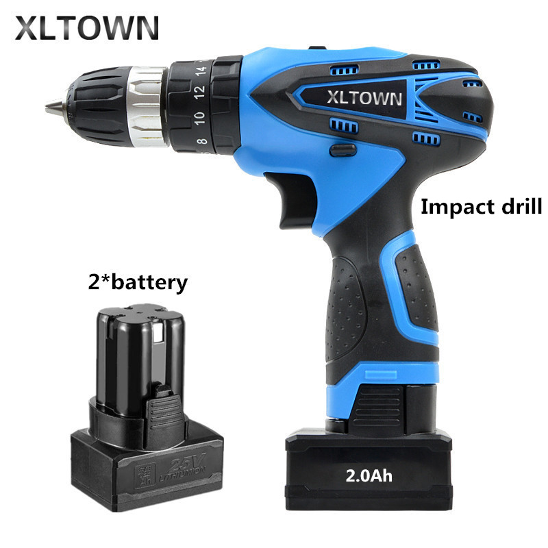 XLTOWN 25V 2000mA Impact Drill Rechargeable Lithium Battery 2 Battery Electric Screwdriver Cordless Electric Drill Power tools deko gcd20du3 20 volt max dc lithium ion battery 13mm 2 speed electric cordless drill mini screwdriver impact power driver
