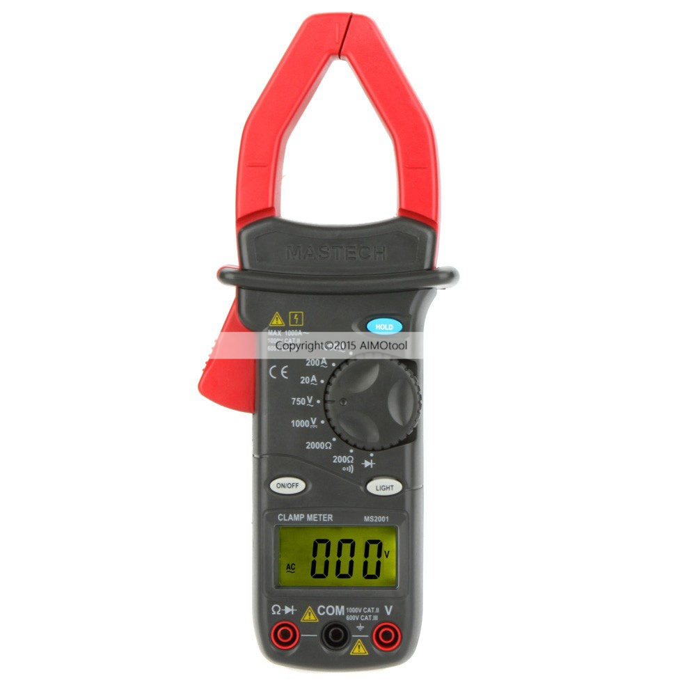MASTECH MS2001 1000A Digital AC Clamp Meters AC/DC Voltmeter AC Ammeter Ohmmeter W/LCD Backlight mastech ms2008a auto range digital ac clamp meter ammeter voltmeter ohmmeter with lcd backlight